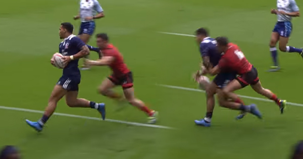USA botch try as Luke Morgan makes big tackle over try line