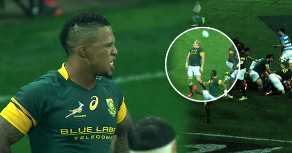 Elton Jantjies boots the ball directly into his captain's face!