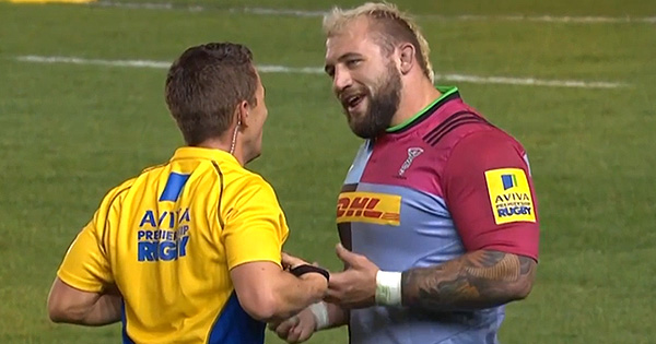 Joe Marler explains to referee that early RWC exit is reason for late tackle against Wasps
