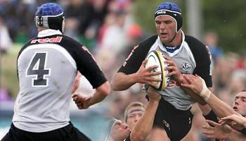 Johan Muller big hit against the Blues