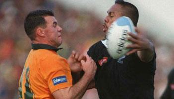 Jonah Lomu wreaking havoc against Australia in 1995