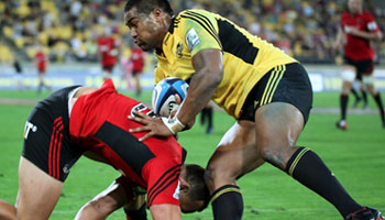 Julian Savea smashes Israel Dagg, Robbie Fruean, and a few others