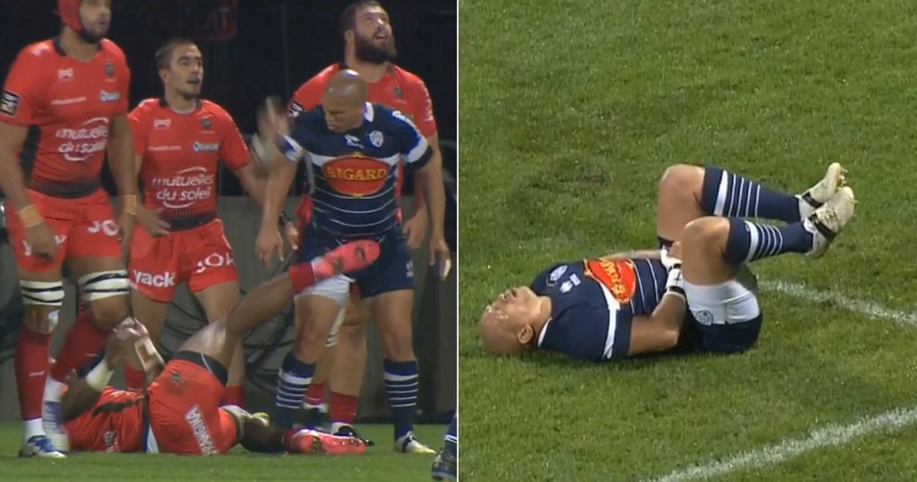 Ricky Januarie floored by below the belt kick from Semi Radradra