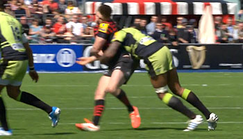 Courtney Lawes smashes Owen Farrell with trademark hit