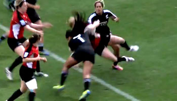 Huge hit by New Zealand Women's Sevens star Linda Itunu