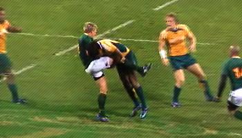 Lote Tuqiri tackle on Jean De Villiers in Perth