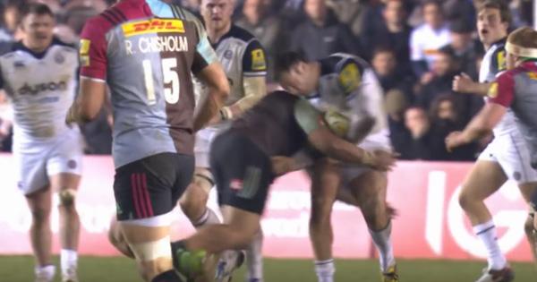 Mat Luamanu flies in to make a cracking hit on big Matt Banahan