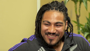 Ma'a Nonu tells jokes on the couch while confessing his love for chocolate