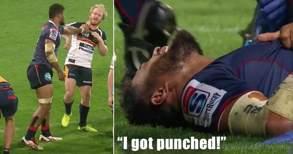 'Toughest player on the field' reacts to being dropped by sneaky punch