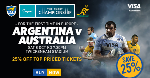 Rugby Championship heads to Twickenham with Argentina vs Australia, October 8th