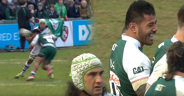 Manu Tuilagi's big hit on Blair Cowan in Leicester Tigers romp
