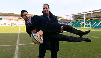 Martin Bayfield gives practical demonstration of the tip-tackle law