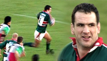 Martin Johnson sidestep try for Leicester in 2002