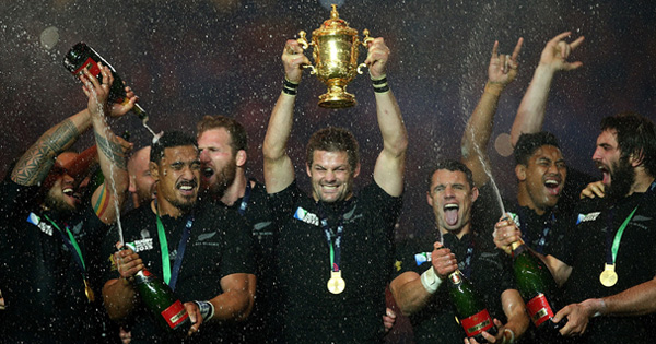 Highlights and celebrations as All Blacks win successive Rugby World Cup titles