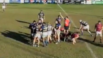 Young Michael Gunn cuts Wallaby Rod Davies in two with big tackle