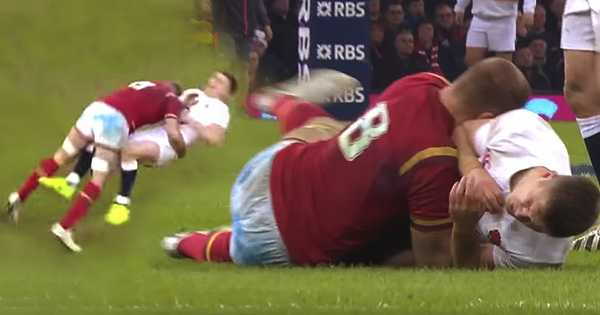 Ross Moriarty's thumping late hit on Owen Farrell in Cardiff
