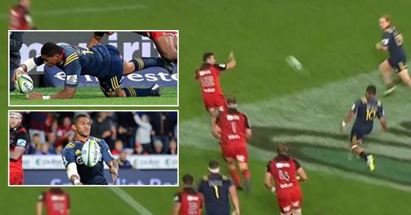 Lima Sopoaga creates Waisake Naholo try with one of the flattest crosskick's you will ever see