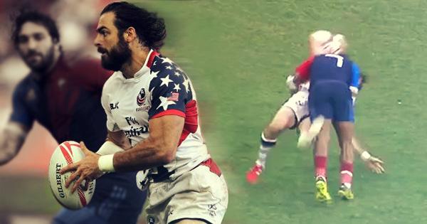 Superbowl winner Nate Ebner scores twice but also gets smashed on rugby return