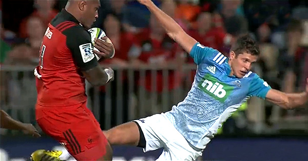 Nemani Nadolo HUGE charge sends debutant flying and leads to great Crusaders try