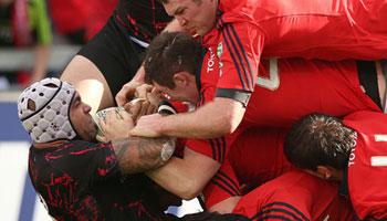 Edinburgh's Netani Talei manhandled over his tryline by Munster