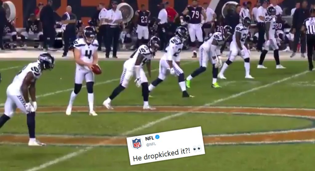 NFL kicker shocks football fans with rugby-style drop kick to restart play