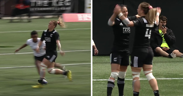 Sonny Bill Williams' sister Niall makes a stunning flick pass for a great try