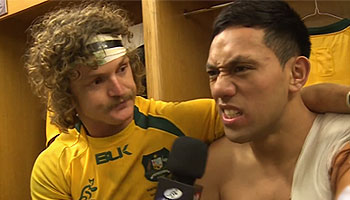 Nick 'Honey Badger' Cummins interviews Wallaby players after Wales win