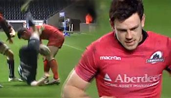 Edinburgh's Nick De Luca flips Tom Grabham in dangerous tackle