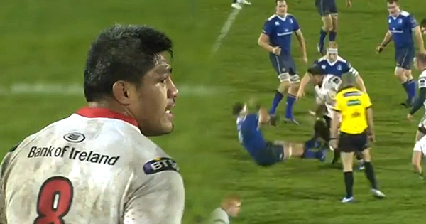 Nick Williams huge double fend slams Leinster's Rhys Ruddock to the floor