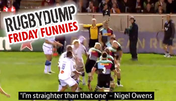 Friday Funnies - Nigel Owens is straighter than this lineout throw