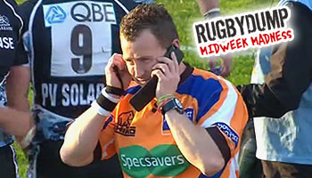 Referee Nigel Owens chats to the TMO, on an iPhone