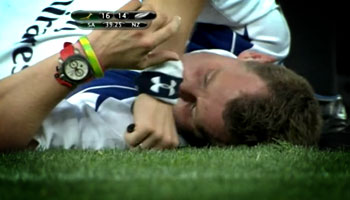 Referee Nigel Owens takes a tumble at Soccer City