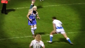 Bath's Olly Barkley sorts out a transvestite pitch invader