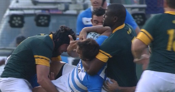 Compilation of the unpunished Teboho Mohoje high tackles against Argentina