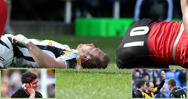 Owen Farrell yellow carded for knocking out Dan Robson with sickening clash