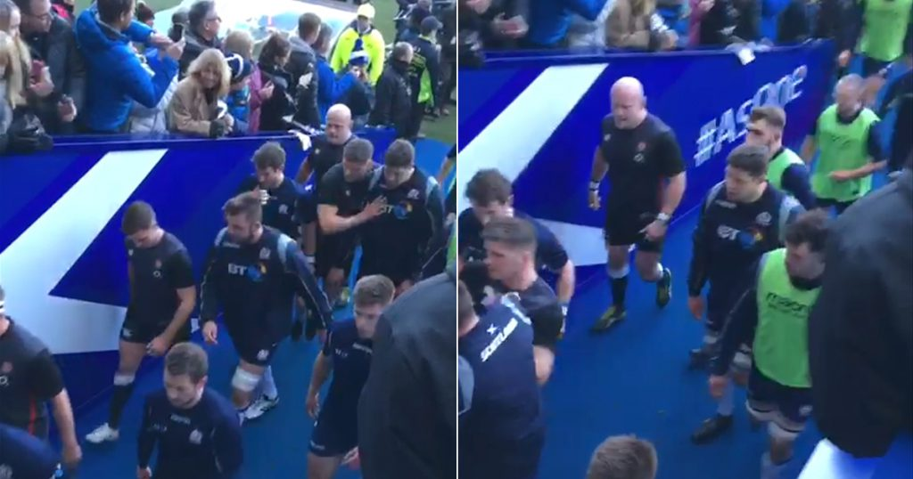 New footage shows moment Owen Farrell pushed Scotland players in the tunnel before kick-off