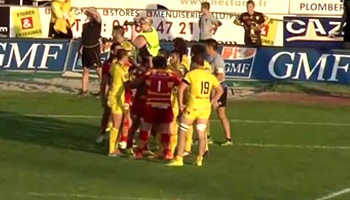 Mass Brawl between Perpignan and Carcassonne in French second division
