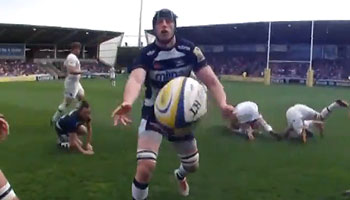 Ref Cam captures referee JP Doyle hitting the turf after ball passed his way
