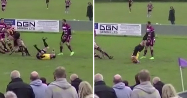 Acrobatic referee shows us how to smoothly recover from an embarrassing fall