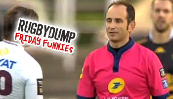 Friday Funnies - Referee Romain Poite caught in front of the kicker