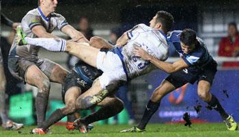 Sam Burgess throws his body around in the Montpellier mud