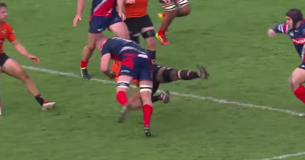 Sam Jeffries makes a monster blindside hit on Folau Fainga