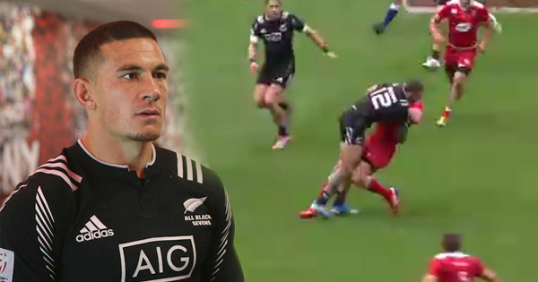 Sonny Bill Williams puts in a monster tackle at the London Sevens