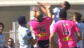 Sergio Parisse harshly red carded as Brice Dulin gets tipped up in the air
