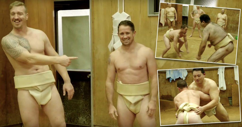 Shane Williams and Andy Powell get their kit off for bizarre sumo experience