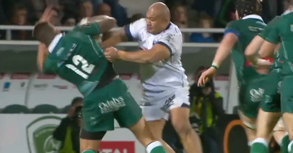 Sona Taumalolo makes thumping hit against Pau in the Top 14
