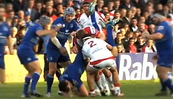 Tom Court shown straight red card for tip tackle on Devin Toner
