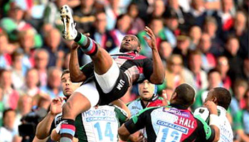 Ugo Monye lucky to get up after heavy fall against London Irish