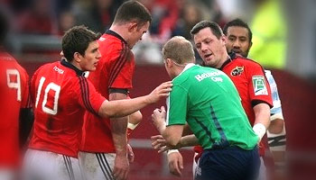 Ian Keatley clearance kick hits Wayne Barnes square in the face