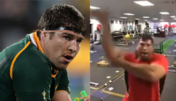 This is what Springbok Willem Alberts does when alone in the gym